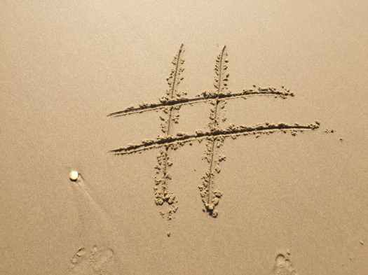 beach footprint hashtag island
